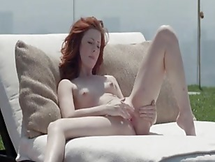 Picture Gentle Redhead Opening Vagina Outside