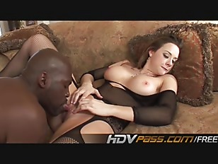 Big Boobs Brunette in stocking deep fuck a black cock nd jizzed