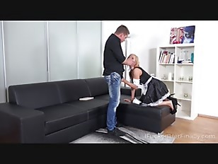 Dude Seduces Maid Into Cleaning His Cock