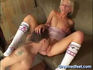 Picture Blonde Slut Pleasures Cock With Her Feet