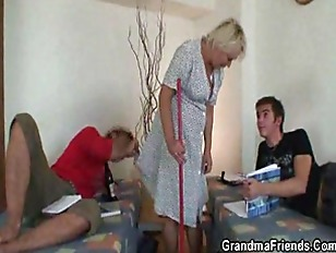 Picture Old Cleaning Woman Takes Two Hard Cocks
