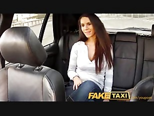 Cute brunette gets fucked on taxi backseat