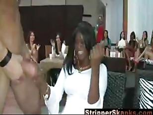 Horny ladies suck stripper cock