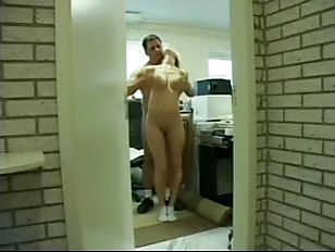 Blonde slave offers her ass and mouth
