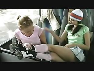 Lesbian Teens Get Freaky On A Bus