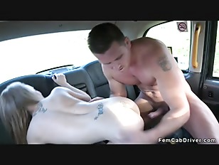 Guy fucks petite female fake taxi driver