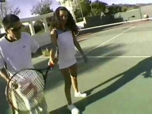 Picture Catalina Hot Threesome On The Tennis Court