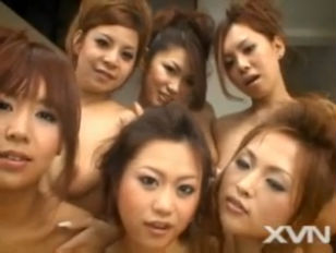 Six japanese girls and one cock