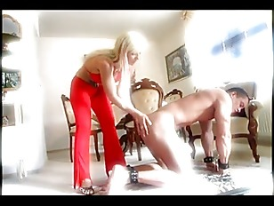 Blonde Tattooed Mistress Whipping...