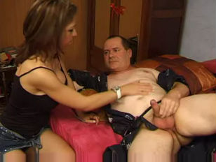 Picture French Chick Smacks And Fucks Old Guy