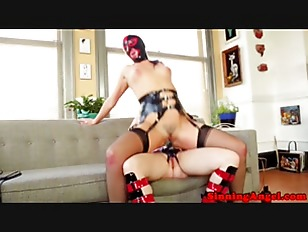Picture Strapon Masked Dykes In Pegging Session