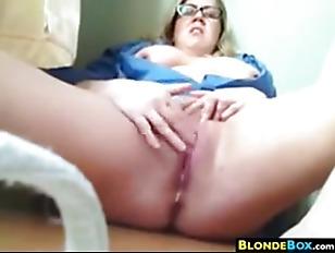 Big Blonde Nerd Masturbating...