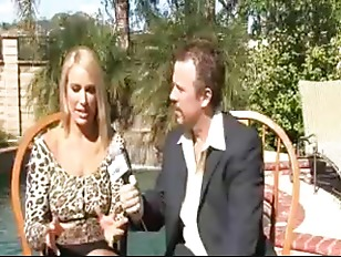 Busty blonde and reporter
