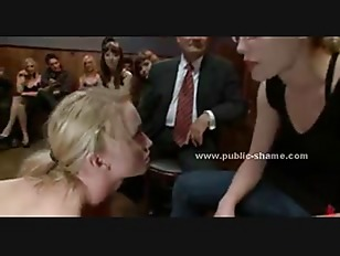 Busty delicious blonde immobilized and forced to fuck in public group bondage sex video