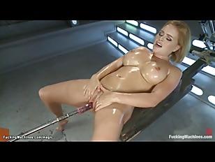 Oiled big tits blonde machine fucked