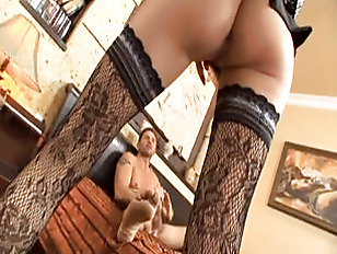 Stockinged Blonde Screams For...