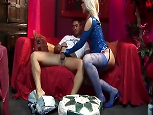 Picture Sexy Babe In Blue Stockings