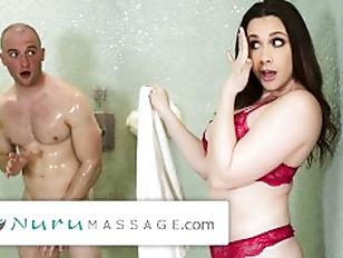 NuruMassage PAWG Stepmom Creeps on Stepson in Shower