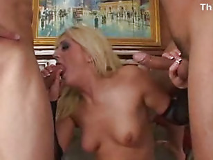 Picture Sexy Blond Chick Tied Up And Fucked By Two T...