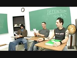 brunette school girl gangbang play in classroom