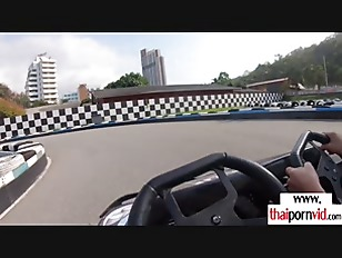 Busty amateur Thai slut Noom loves wild riding in kart and on big dick