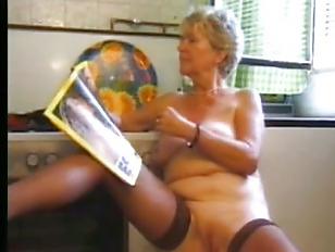 Granny Masturbating In Stocking...