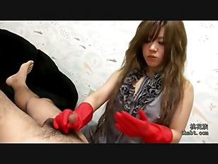 Red rubber gloves handjob