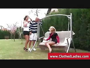 Kinky ladies sucking a cock outdoors
