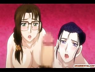 Busty japanese hentai threesome hot poked