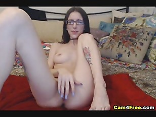 Picture Pretty Nerdy Babe Toying Her Wet Pussy
