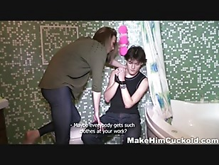 Picture Make Him Cuckold - Cuckolded In A Bathroom