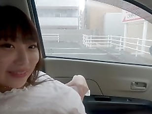155cm K cup roztomil d v e Rande s and lem. Sheer clothes  smile in the car blowjob  handjob  kiss.