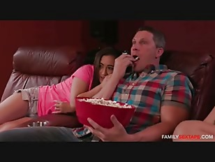 Dad fucks step daughter and her friend watching a matinee.mp4